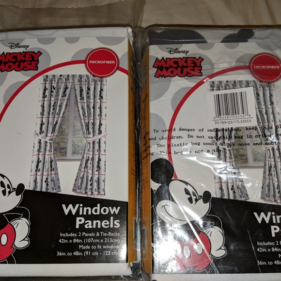 2 Brand New Sets of Mickey Mouse Curtains NWT